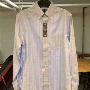 Jos A Bank Light Blue Glen Plaid Dress Shirt